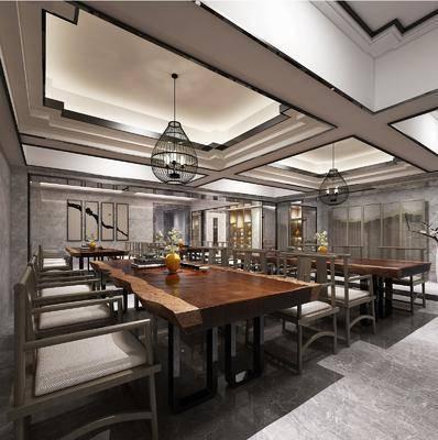 茶馆, 餐桌, 餐椅, 单人椅, 吊灯, 装饰画, 挂画, 装饰品, 陈设品, 装饰柜, 盆栽, 装饰架, 新中式