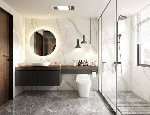 卫浴, 洗浴组合, 马桶, 洗手盆, 摆件组合