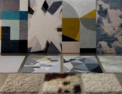 毛发地毯组合, 地毯, 布艺地毯