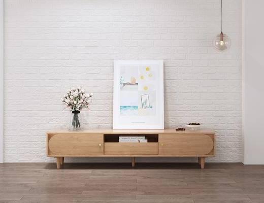电视柜, 实木电视柜, 北欧电视柜