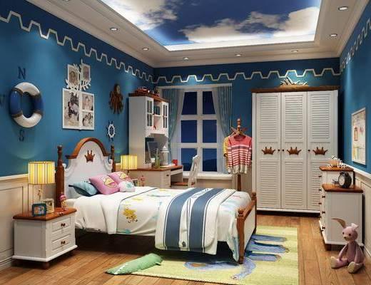 单人床, 装饰画, 墙饰, 衣柜, 边柜, 写字桌