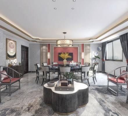 包间, 餐桌, 餐椅, 单人椅, 多人沙发, 茶几, 装饰柜, 吊灯, 边柜, 墙饰, 盆栽, 摆件, 装饰品, 陈设品, 新中式
