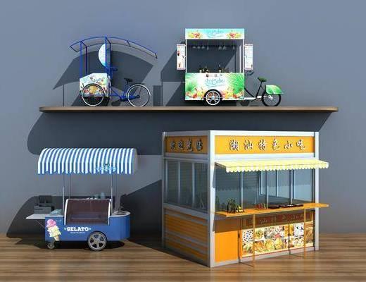 现代, 推拉车, 快餐车, 售货车
