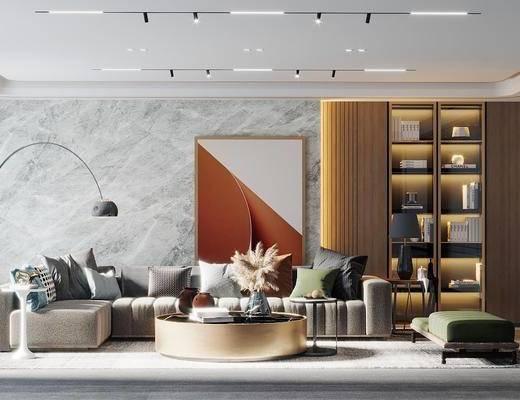 沙发组合, 茶几, 落地灯, 摆件组合, 单椅, 书柜, 书籍