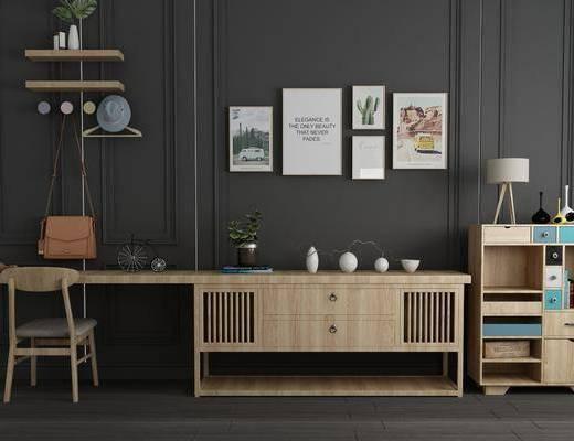 电视柜, 装饰柜, 边柜, 墙饰组合, 写字桌, 台灯, 装饰画, 组合画, 摆件, 装饰品, 陈设品, 北欧