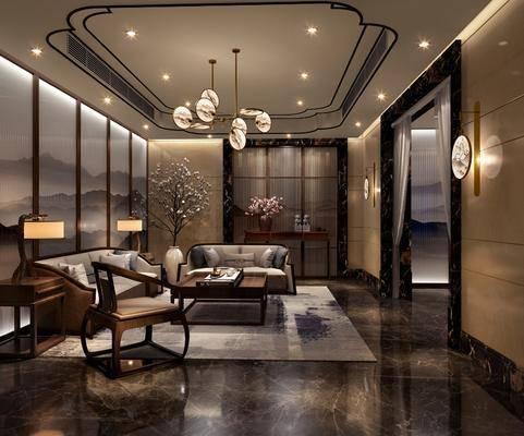 会客室, 接待区, 新中式接待区, 沙发组合, 茶几, 吊灯, 花瓶花卉, 案几, 摆件, 台灯, 新中式