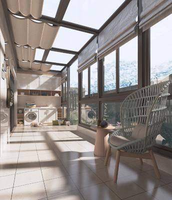 现代阳台, 洗衣机, 单椅