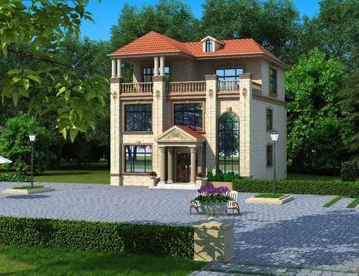 别墅外观, 躺椅, 景观园林, 树林, 罗马柱, 盆栽, 绿植植物, 花卉, 树木, 欧式
