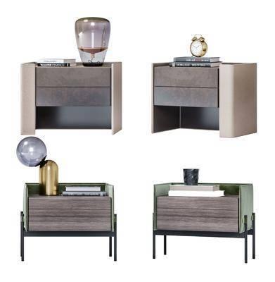 现代床头柜, 摆件, 台灯