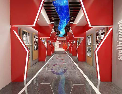 现代展厅, 展厅, 党建活动室, 展览展厅