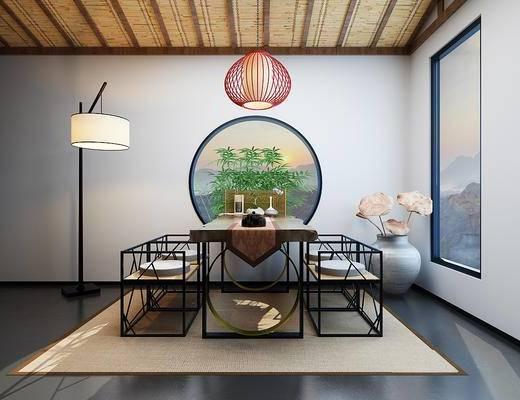 新中式, 餐桌椅组合, 落地灯, 吊灯, 陈设品组合