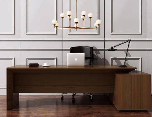 书桌, 办公桌, 电脑桌椅, 金属吊灯, 办公室, 桌椅组合