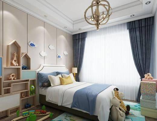 现代儿童房, 儿童房, 双人床