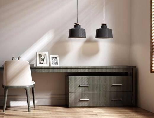 书桌, 椅子, 吊灯, 相框, 单椅, 现代
