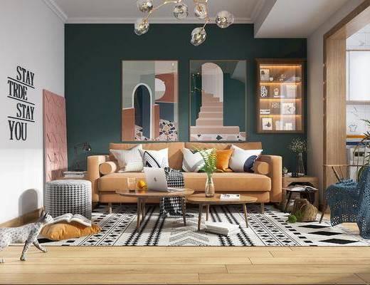 沙发组合, 餐桌, 装饰画, 吊灯, 鞋柜, 电视柜