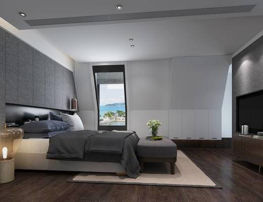 现代, 卧室, 双人床