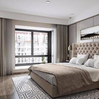 卧室, 双人床, 床头柜, 装饰柜, 摆件, 装饰画, 台灯, 现代