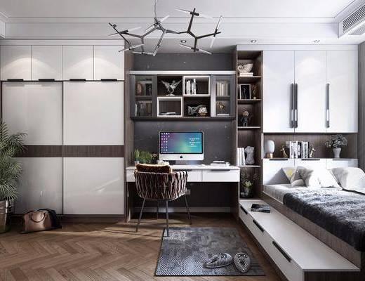 书房, 榻榻米, 桌椅组合, 装饰柜, 书籍, 摆件组合, 吊灯, 现代