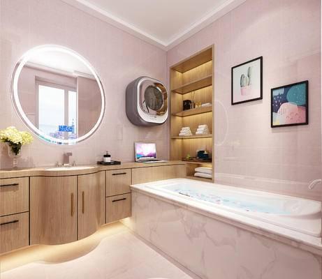 北欧, 卫生间, 浴缸, 挂画