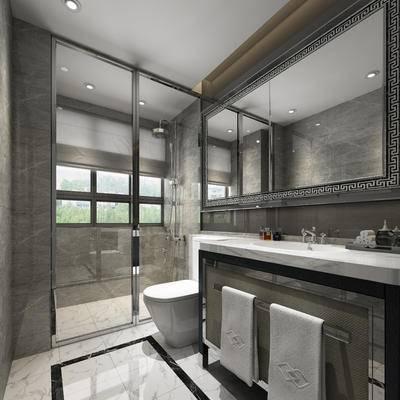 现代, 中式, 卫生间, 淋浴间