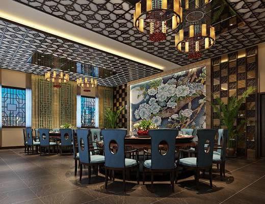 餐厅, 中式餐厅, 餐桌椅, 吊灯, 桌椅组合, 餐具