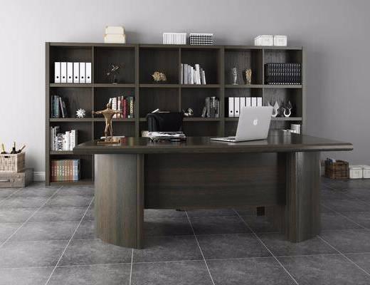 办公桌, 桌椅组合, 椅子, 单椅, 桌子, 书桌, 书柜, 书籍, 摆件, 装饰品, 现代桌椅组合, 现代