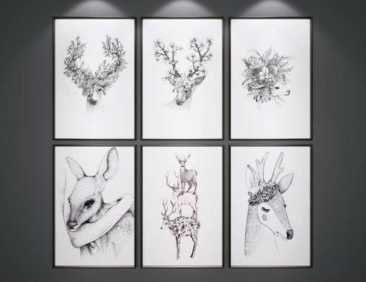 挂画, 艺术画, 麋鹿装饰画, 黑白画
