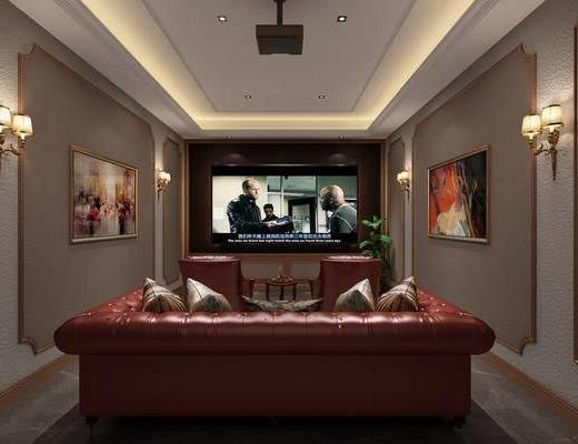 美式, 影音室, 多人沙发, 壁灯, 挂画, 单人沙发, 边几