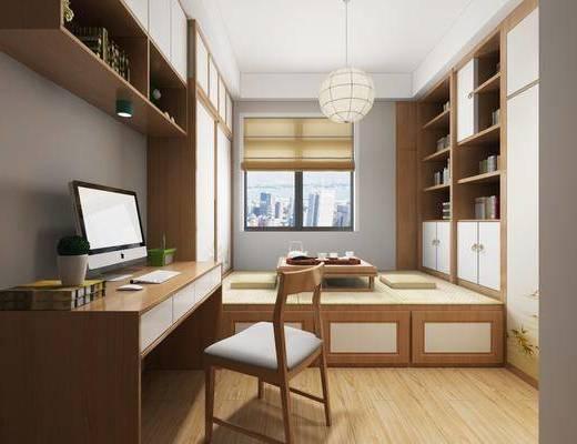 书房, 榻榻米, 书桌, 单人椅, 吊灯, 装饰品, 陈设品, 摆件, 书柜, 书籍, 装饰柜, 新中式