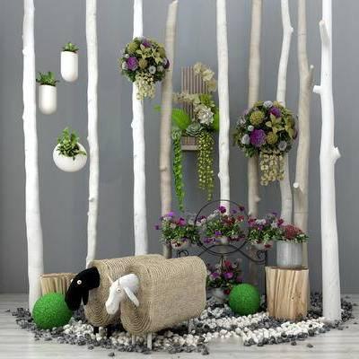 现代干枝, 羊矮凳, 墙饰, 装饰品摆件, 植物墙饰, 树枝隔断, 木头装饰, 原木凳子