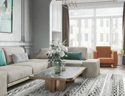 沙发组合, 茶几, 花瓶, 装饰画, 单椅, 地毯