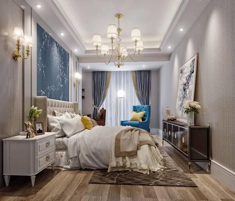 美式, 简约, 卧室, 床具, 双人床, 床头柜, 墙画, 装饰画, 装饰柜, 边柜, 摆件, 花瓶, 壁灯, 吊灯, 单椅, 装饰品