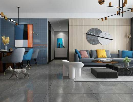 沙发组合, 墙饰, 餐桌, 吊灯, 茶几, 摆件组合, 装饰画