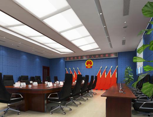 法院会议室, 会议室桌椅, 会议室扩声器, 话筒, 党旗党徽