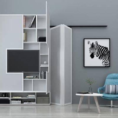 电视柜, 装饰柜, 置物柜, 单椅, 休闲椅, 挂画, 装饰画, 书籍, 摆件, 装饰品, 现代