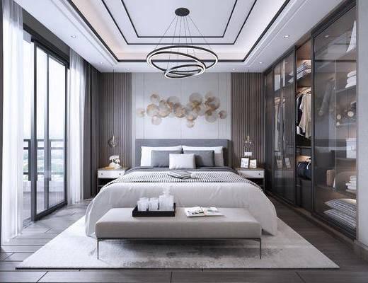 卧室, 双人床, 床尾凳, 床头柜, 吊灯, 墙饰, 衣柜, 装饰柜, 衣架, 服饰, 现代