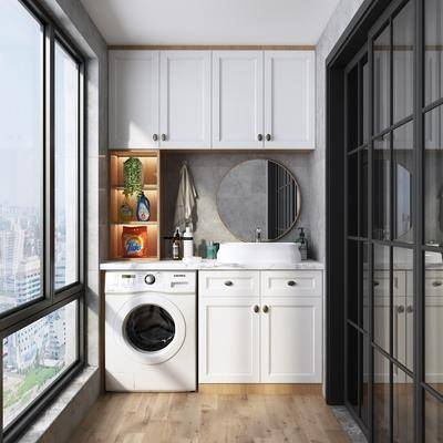 阳台, 露台, 北欧阳台, 洗衣机, 置物柜
