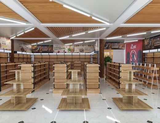 超市货架, 商场店铺, 装饰架, 吊灯, 前台, 盆栽, 绿植植物, 现代