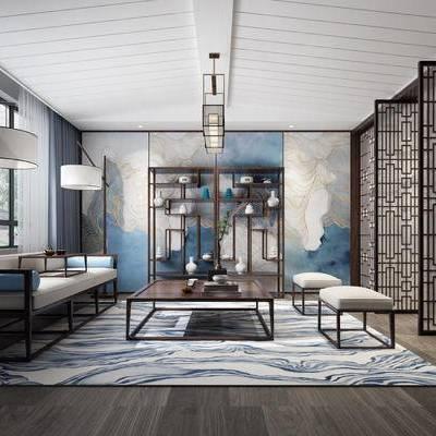 茶室, 中式茶室, 中式沙发组合, 凳子, 茶几, 中式吊灯, 中式屏风