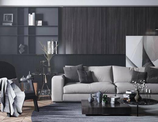 沙发组合, 茶几, 单椅, 装饰画
