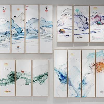 新中式, 装饰画, 挂画, 抽象画, 水墨画, 风景画, 中式