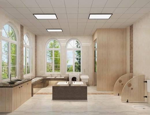 洗手池, 洗衣机, 柜子, 小便池, 蹲便池