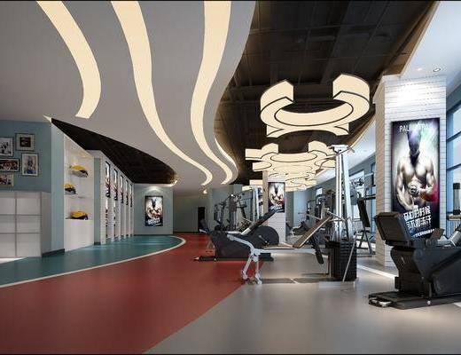 健身房, 健身器材, 吊灯, 装饰画, 挂画, 照片墙, 现代