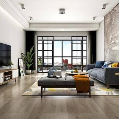 客厅, 多人沙发, 沙发凳, 挂画, 边柜, 茶几, 单人椅, 盆栽, 北欧
