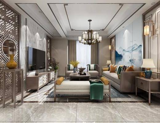 客厅, 餐厅, 沙发组合, 沙发茶几组合, 边柜组合, 壁灯组合, 台灯组合, 吊灯, 餐桌椅组合, 装饰柜组合, 摆件组合, 新中式