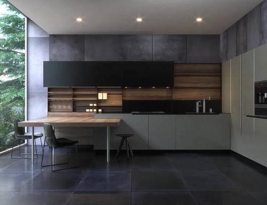 厨房, 现代厨房, 橱柜, 桌椅组合, 现代, 厨具