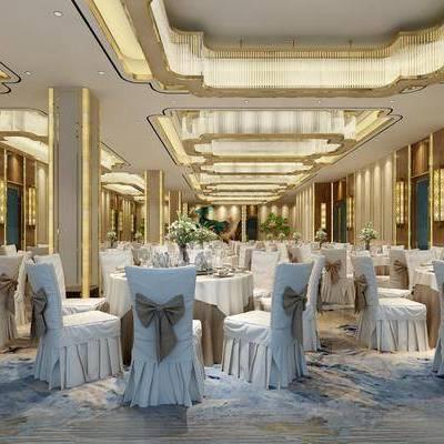 宴会厅, 餐桌, 餐椅, 摆件, 墙饰, 吊灯, 壁灯, 现代