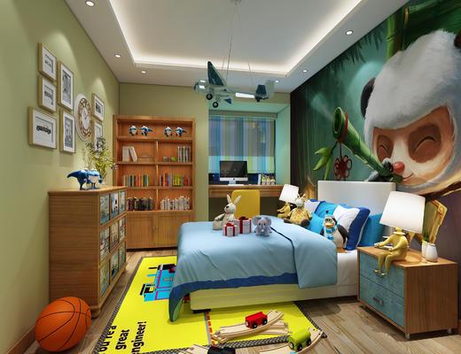 儿童房, 现代, 卧室, 现代卧室, 床, 边柜