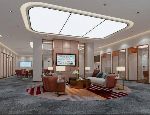 大厅, 银行, 大堂, 沙发组合, 茶几, 单椅