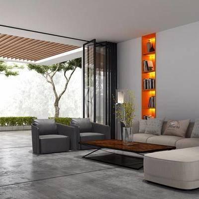 双人沙发, 布艺沙发, 单人沙发, 茶几, 落地灯, 台灯, 植物, 现代